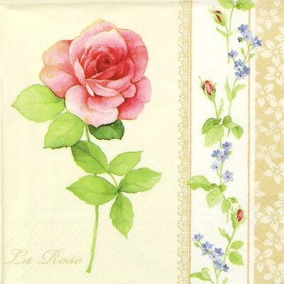 4x Paper Napkins for Decoupage Craft Vintage La Rose