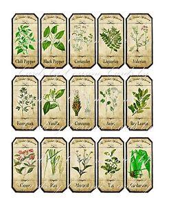 Vintage inspired assorted herb spice food tea bottle jar labels ...