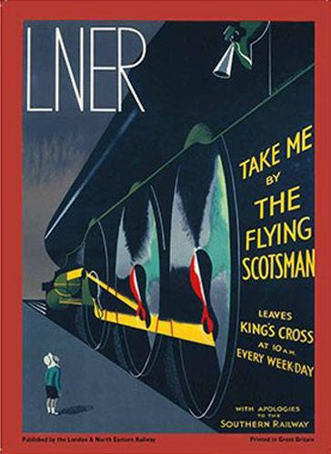 Medium Metal Tin Sign Flying Scotsman Steam Train Art Deco Retro Vintage Rail