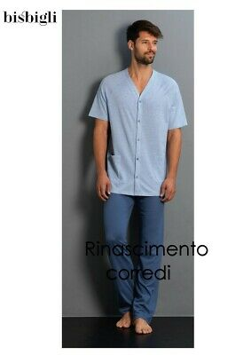 PIGIAMA UOMO APERTO MANICA CORTA PANTALONE LUNGO CARDIGAN LINCLALOR 76867 AVIO