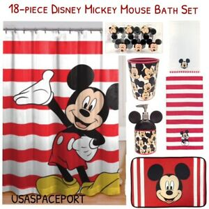 Mickey Mouse Bathroom | Details About 18pc Kids Mickey Mouse Complete Bathroom Set Shower Curtain Hooks Mat Towels Lot