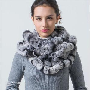 Women Real Rex Rabbit Fur Scarf Scarves Circle Shawl Muffler New Scarf Neckwarm