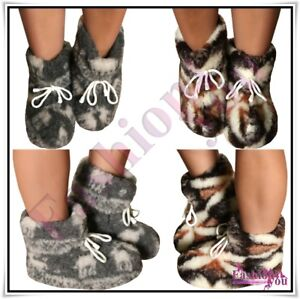 100-Sheep-Wool-Boots-Cozy-Foot-Sheepskin-Slippers-Women-s-Men-039-s-Size-3-12-UK