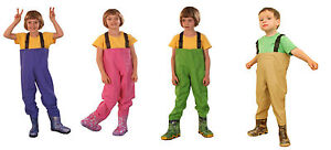 Kids fishing chest waders fishing boots new size 4 2 uk for Youth fishing waders