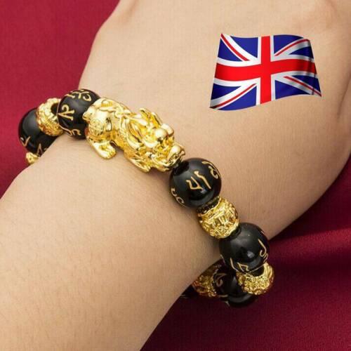 Feng Shui Noir Obsidienne Alliage richesse BRACELET PIXIU Mantra Bracelet UK Lucky