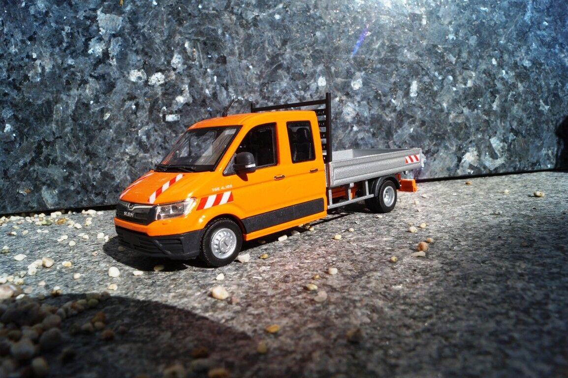 Conrad MAN TGE 4.180 4.180 4.180  Pritschenwagen , kommunalorange  scale 1 50  IAA Neuheit e3b9f6