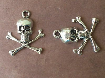 SC3620 10 Skull and Bones Charms Antique Silver Tone