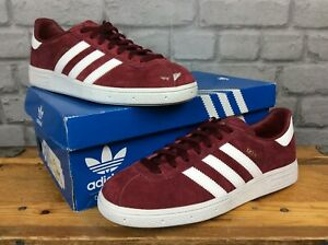 ADIDAS-MENS-UK-8-EU-42-RED-WHITE-SOLE-MUNCHEN-SUEDE-TRAINERS-RRP-75
