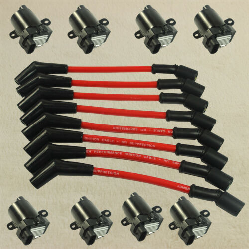 8Pcs Fit Chevy GMC Spark Plug Ignition Wires Set+8 Pcs Round Ignition Coils Kit