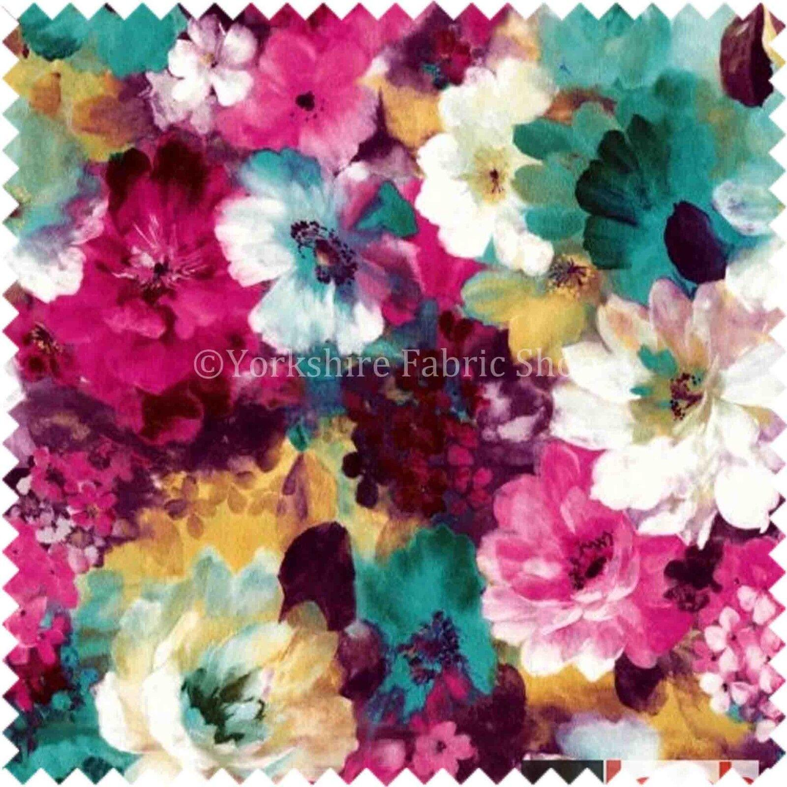 Floral Pattern Pink Colour Printed Velvet Upholstery
