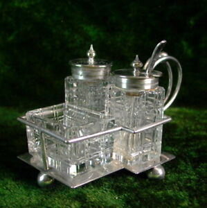 Art Deco Gewürzmenage - Silver Plated - Walker & Hall England