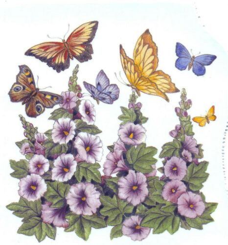"2 Butterfly Butterflies Hollyhock Square 3 3//4/"" Watrslide Ceramic Decals Bx"