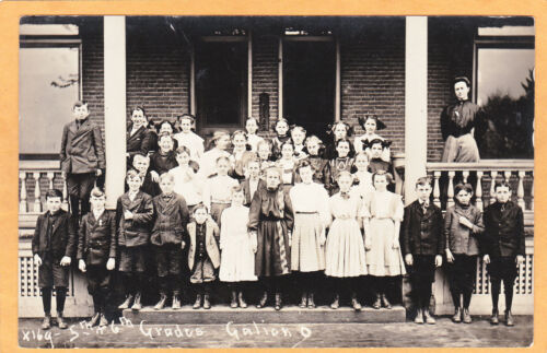 Real Photo Postcard RPPC cher Students 5th and 6th Grades Gallion Ohio