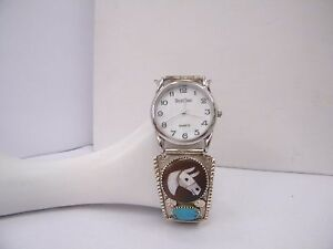 925 Sterling Silver Native American Handmade Turquoise and Horse Watch