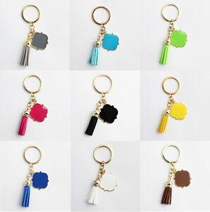 22c88455817b Image is loading Enamel-Monogram-Blanks-Velvet-Leather-Tassel-Keychain-Bag-