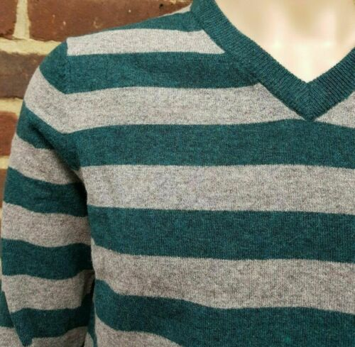 Men`s V-Neck Lambswool Jumper w// Elbow Patch Size Large Grey//Green Sweater