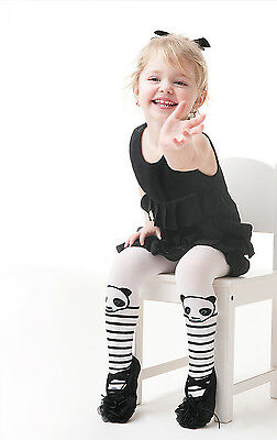 """Panda"" Patterned Kids Tights 40 Den White 3-8 Years Old by Knittex"