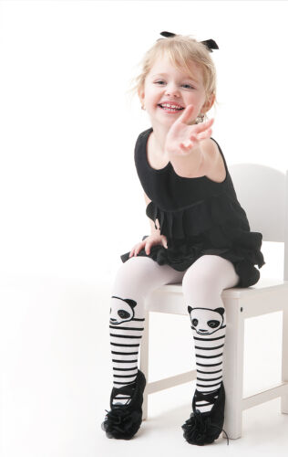 Girls White Opaque Patterned Tights 3-8 Years Knittex Panda