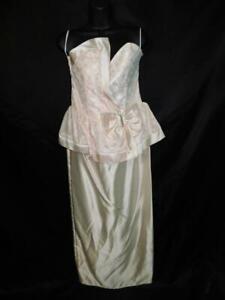 Vintage 80s Flirtations M L NWT Pink Lace Wiggle Dress Strapless Peplum Formal