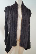 RINO & PELLE Chocolate Brown Rabbit Fur Rib Knit Cardigan Jacket Sz:XL BNWT
