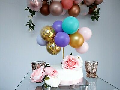 BALLOON CAKE TOPPER GOLD CONFETTI BRIDE BIRTHDAY PARTY MINI GARLAND MINT VIOLET