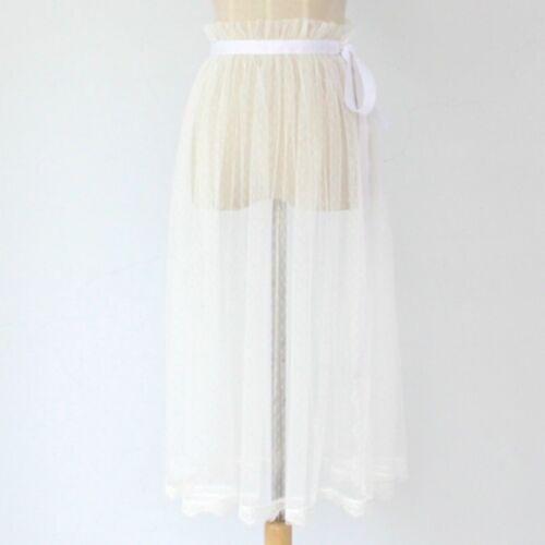 Women Lace Mesh Wrap Skirt Slit Sarong Sheer Slips Petticoat Tulle Underskirt