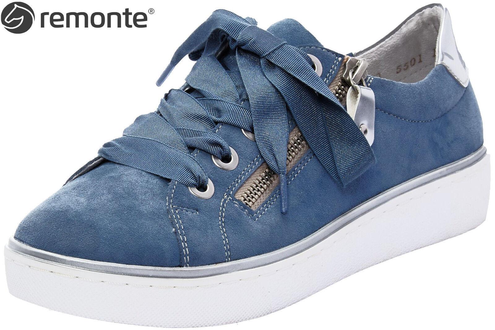 Remonte Damen Sneaker R5501-13 Blau Komfort Leder Schuhe lose Einlage NEU