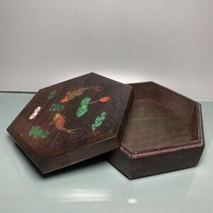 Noble old Boxwood Inlay Conch fish Art Usable Precious big hexagonal Jewelry Box