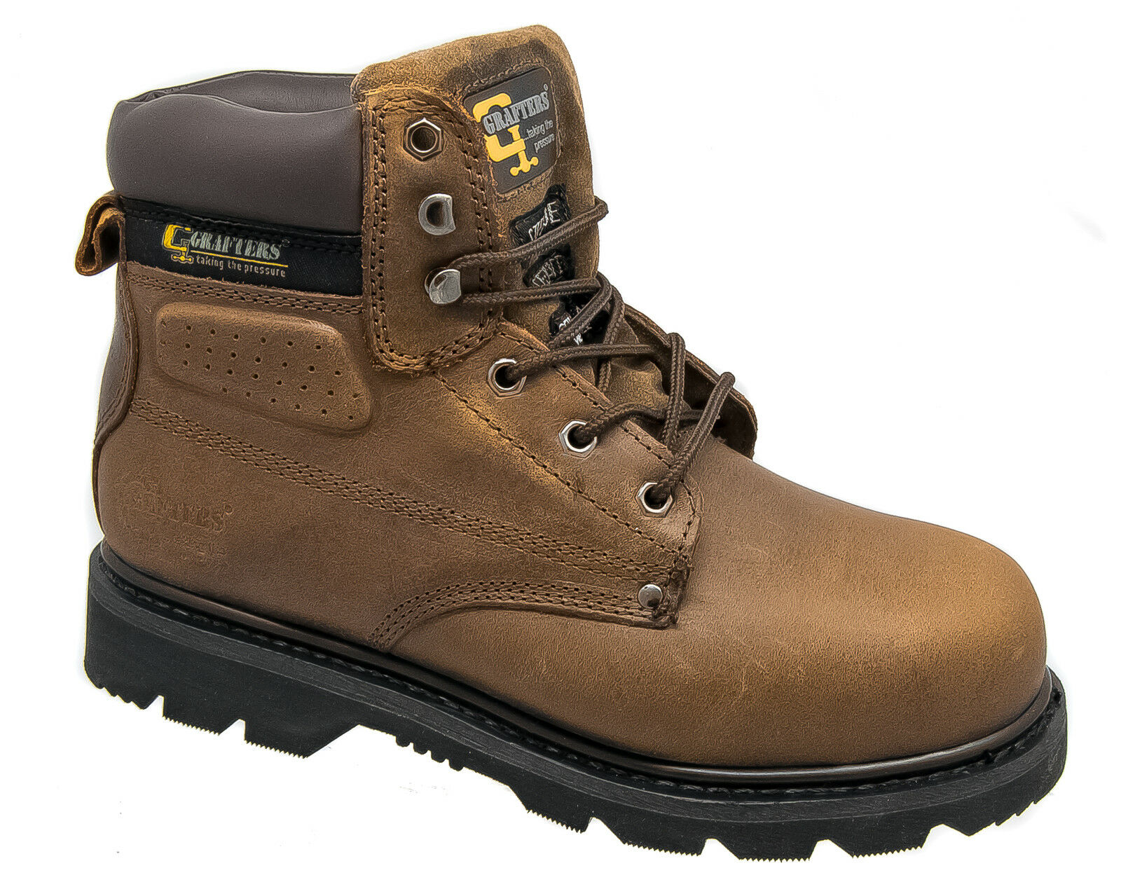 Hombre Safety Safety Safety Work botas / Marrón Leather Steel Toe Cap Goodyear Soled Grafters 8ca99b