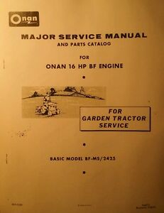 details about bolens sears case garden tractor bf/ms onan engine service &  parts manual 48pg