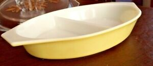 Vintage Pyrex Lemon Yellow White Oval Divided Baking Dish 1.5 Qt Casserole