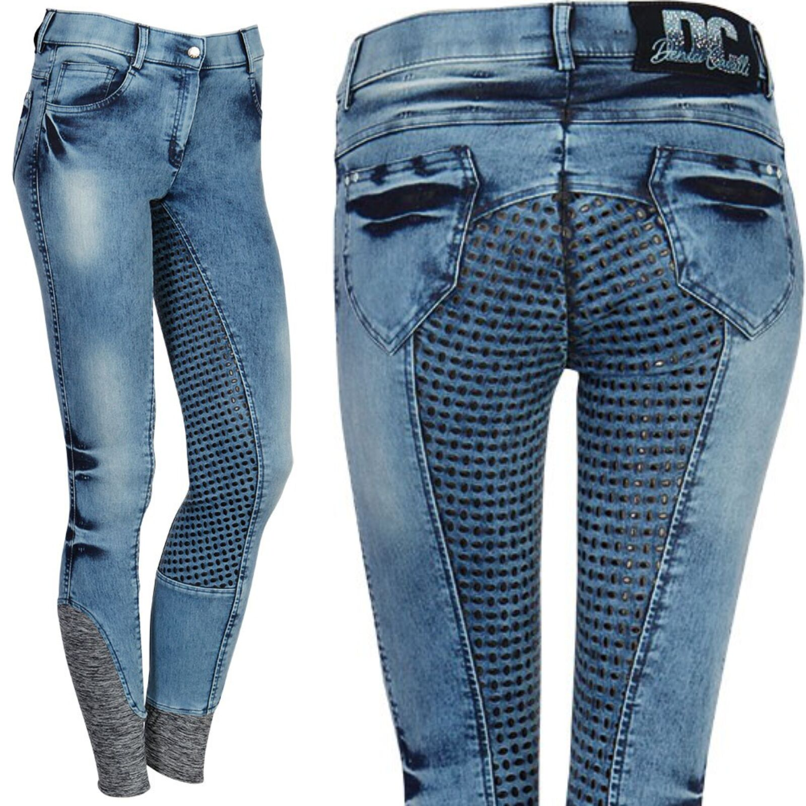 Harry's Horse Riding broek denici Cavalli Denim Full Grip Silicon Full Trim