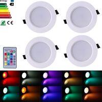 4Pcs x 5W CREE RGB Rund Ultraslim LED Panel Einbaustrahler Deckenleuchte Lampe