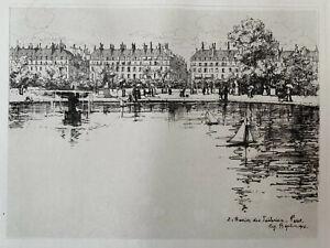 Eugene bejot engraving water forte etching the tuileries pool paris louvre