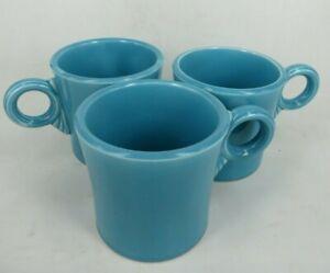 TOM-amp-JERRY-vintage-FIESTA-WARE-3-034-ring-handle-TURQUOISE-blue-cup-mug-ORIGINAL