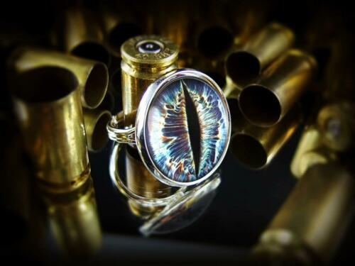 Details about  /Blue Cat Eyeball Gothic Taxidermy Sterling Silver Ring