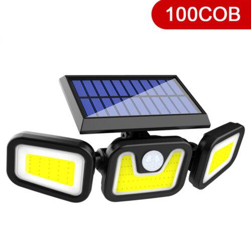 COB LED Solar Wall Light 3 Heads Motion Sensor Outdoor Garden Lamp Waterproof