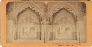 Spagna Alhambra Grenade Granada Foto J.Andrieu Stereo Vintage Albumina