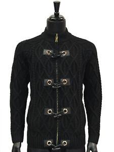 granel Lujoso Punto negro a cardigan de cuero Hombre de Botón suéter Cable alternar wp4qx8HF7Z