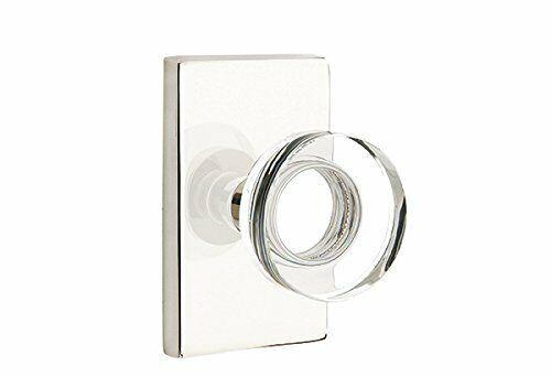 Polished Nickel Modern Rectangle Rosette Passage Set Modern Disc Crystal Knob