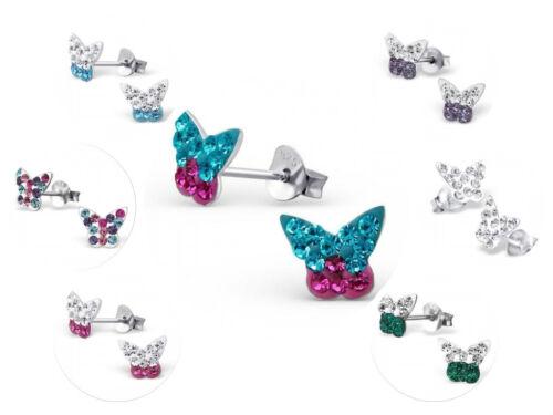Niñas Señoras Plata Cristal Mariposa Aretes en Caja 7 Colores
