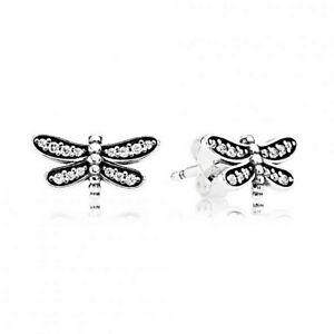 Image Is Loading Genuine Pandora Silver Dragonfly Stud Earrings 290574cz