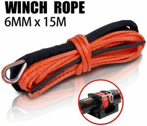 X-BULL 1/4''x50' Synthetic Winch Rope LineRecovery Cable  4WD 10000LBS Orange