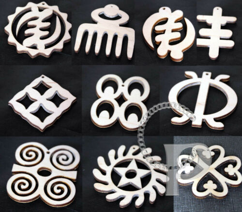 10 charms pendant earring making wooden shapes Africa Adinkra Duafe Sankofa more