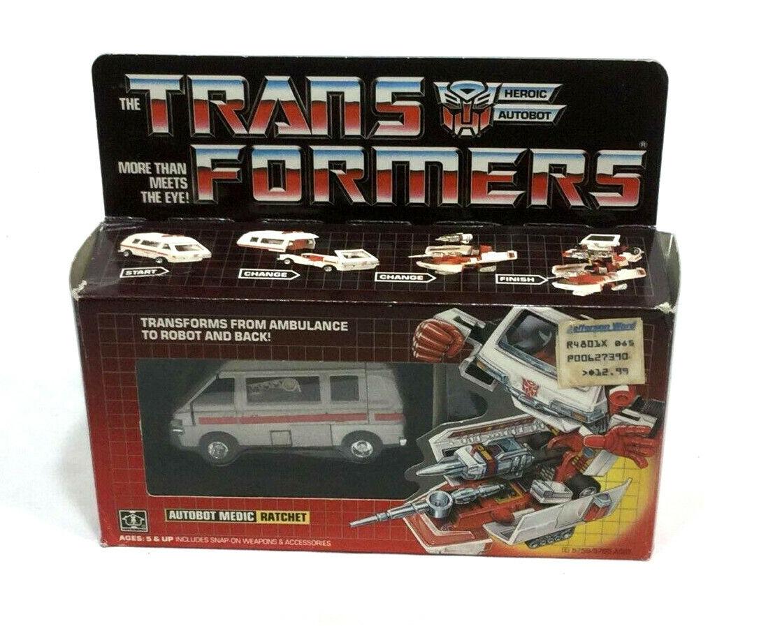 1984 Vintage G1 Transformers  Ratchet scatolaed completare Insert Bubble librolet Prerub  prezzi più convenienti
