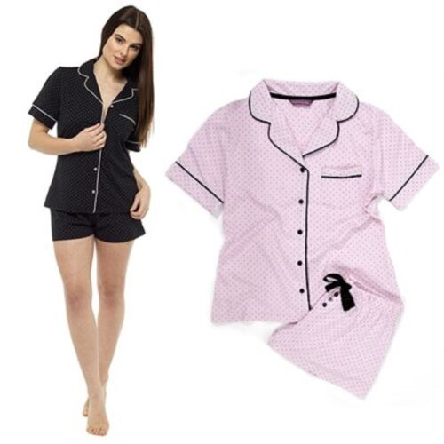 Sizes 8-22 Ladies Cosy Polka Dot Classic Button Shirt Top /& Short Pyjamas Set