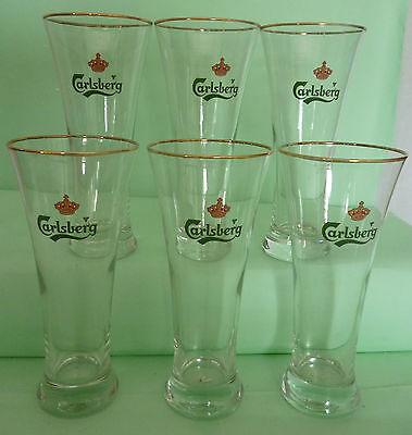 6 verres à bière Carlsberg gravés 25 cl