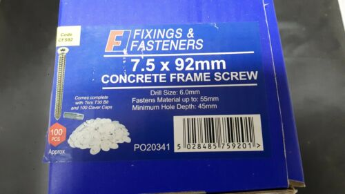 Concrete Screws Window Frame Door Fixings Masonry Box of 100