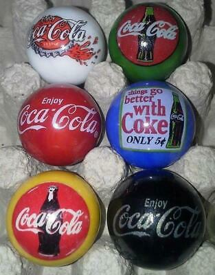 Super Nice Lot Of 6 Coca Cola Advertising Glass Marbles