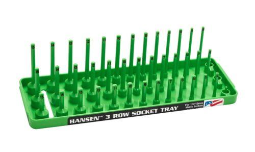 "Hansen 4pc Socket Holder Tray Organizer Set 3 Row 1//4/"" 3//8/"" Deep Shallow Green"